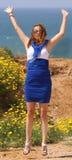 Schönes Springen der jungen Frau Lizenzfreies Stockfoto