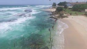 Schönes Srilankanstrand unawathuna stock footage