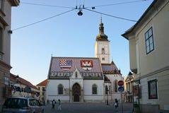 Schönes St. Mark Chruch mit Abendlicht in Zagreb Stockbild