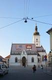 Schönes St. Mark Chruch mit Abendlicht in Zagreb Lizenzfreie Stockbilder