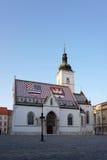 Schönes St. Mark Chruch mit Abendlicht in Zagreb Stockfotografie