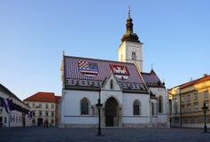 Schönes St. Mark Chruch mit Abendlicht in Zagreb Lizenzfreie Stockfotografie