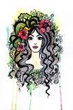 Schönes stilisiertes Mädchen mit Blumen Stockbilder