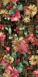 Schönes Textildruck-Hintergrunddesign mit Blumen stockbild