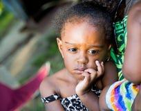 Schönes trauriges Afroamerikaner-Mädchen Stockbilder