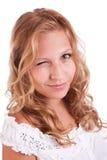Schönes und elegantes Blinzeln der jungen Frau Lizenzfreie Stockfotos