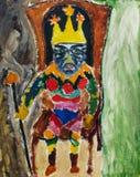 Schönes ursprüngliches Ölgemälde des Königs auf dem Thron auf Segeltuch Lizenzfreies Stockbild