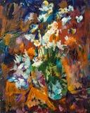 Schönes ursprüngliches Ölgemälde von Blumen in einem Vase auf Segeltuch Lizenzfreie Stockbilder