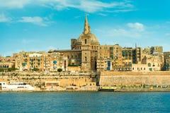 Schönes Valletta-achitecture, Ansicht vom Meer Stockbilder
