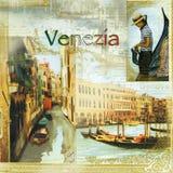 Schönes Venezia-Muster auf Serviette Stockbild