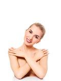 Schönes vorbildliches Girl mit perfekter frischer sauberer Haut Nacktes Make-up lizenzfreies stockfoto