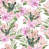 Schönes Waterolor-Muster mit Kaktus und Rosen Lizenzfreies Stockbild