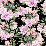 Schönes Waterolor-Muster mit Kaktus und Rosen Lizenzfreie Stockfotos