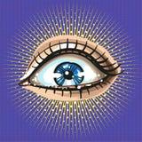 Schönes weibliches Auge mit bilden Retro- Weinleseart der Pop-Art mit Strahlen und Punkten Lizenzfreies Stockfoto