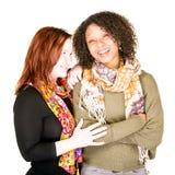 Schönes weibliches Paar-Lachen stockbilder