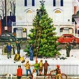Schönes Weihnachtsbaummuster auf Serviette Lizenzfreies Stockfoto