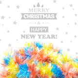 Schönes Weihnachtslametta lokalisiert auf weißem Hintergrund Stockbilder