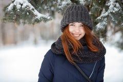 Schönes Winterporträt der Nahaufnahme der jungen entzückenden lächelnden Rothaarigefrau im schneebedeckten Park des netten Strick stockbild