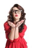Schönes Mädchen in einem roten Kleid Lizenzfreies Stockfoto