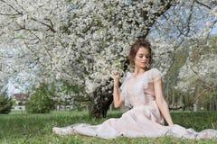 Schönes zartes süßes Mädchen in einem rosa Kleid mit einem nahen blühenden Baum der Frisur an einem sonnigen Frühlingstag Stockfotografie