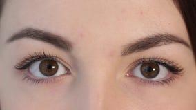 Schönheit öffnet ihre Augen stock footage