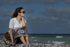 Schönheit auf dem Strand Stockfotos