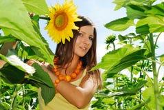 Schönheit in den Sonnenblumen Stockfotografie