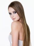 Schönheit der Frau mit dem langen Haar Stockbild