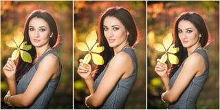 Schönheit in der grauen Aufstellung im herbstlichen Park Junge Brunettefrau, die ein Blatt hält und Zeit im Herbst verbringt Lizenzfreies Stockbild