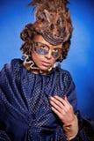Schönheit in der venetianischen Maske mit Federn und Schmuck Lizenzfreies Stockbild