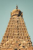 Schönheit der voll- Ansicht des Tempel-Turms - großer Tempel Thanjavur stockfotos