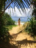 Schönheit, die auf den Dschungelstrand geht Lizenzfreie Stockfotografie