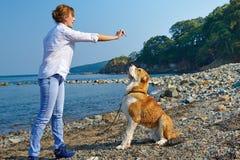 Schönheit, die mit ihrem Hund nahe Meer plaing ist Lizenzfreie Stockfotografie
