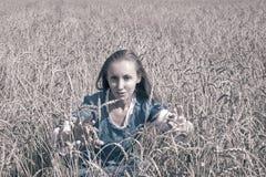 Schönheit in einem blauen langen Kleid auf dem Gebiet von den reifen Ohren von Getreide, tonend Lizenzfreies Stockbild