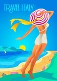 Schönheit in einem breitrandigen Hut auf einem tropischen Strand Das Seeufer, die Berge Feiertag auf dem französischen Riviera, L stock abbildung