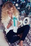 Schönheit am gemütlichen Haus, mit Geschenken und Dekoration des neuen Jahres Lizenzfreie Stockfotos