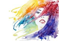 Schönheit, Gesichtsnahaufnahme-Modeillustration Stockbild