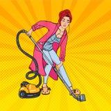 Schönheit Hoovering-Raum und hörende Musik Hausfrau mit Staubsauger Pop-Art Vektor stock abbildung
