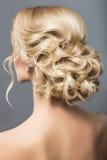 Schönheit im Bild der Braut Schönheitshaar Hintere Ansicht der Frisur Stockbilder