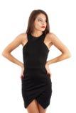 Schönheit im eleganten Kleid, lokalisiert auf weißem Hintergrund Lizenzfreies Stockfoto