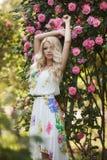 Schönheit im Park nahe den blühenden Rosen Bushs Lizenzfreies Stockbild