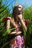 Schönheit im rosa Kleid im Gras Stockbilder