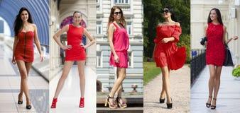 Schönheit im roten Kleid Lizenzfreie Stockfotografie