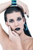 Schönheit im schwarzen Zaubermake-up lizenzfreie stockfotos