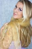 Schönheit im silk Schal Stockfotografie