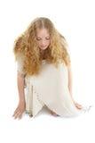 Schönheit im weißen Kleid stockfoto
