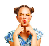 Schönheit jugendliches vorbildliches denkendes oder wählendes Girl Lizenzfreie Stockfotografie