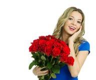 Schönheit mit Blumenstrauß von roten Rosen Stockbild