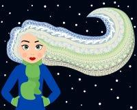 Schönheit mit dem langen gelockten Haar hergestellt in der ethnischen Art, Gekritzelkunst Stockbilder