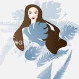 Schönheit mit dem langen Haar umgeben durch tropische Blätter von lizenzfreie abbildung